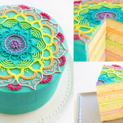 Rainbow Mandala Buttercream Piping Tutorial on Cake Central