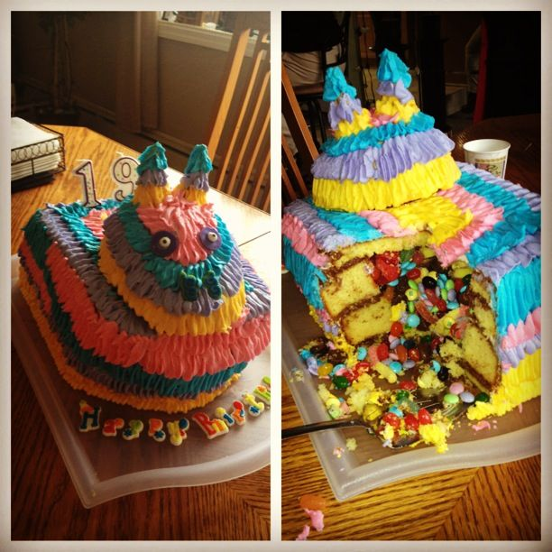 We love cake and we love candy so I made this pinata cake for my niece's 19th birthday.  This cake was sooooo heavy! I got the idea after seeing and loving that chocolate shell with candy inside treat from leah_s  Thanks for looking!