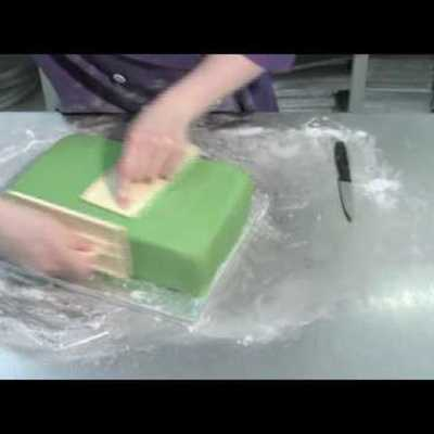 How to cover a square cake with fondant tutorial on Cake Central