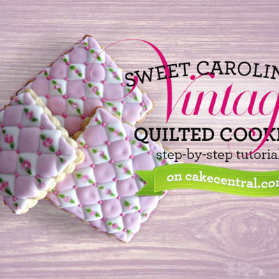 Vintage Quilted Cookie Tutorial on Cake Central