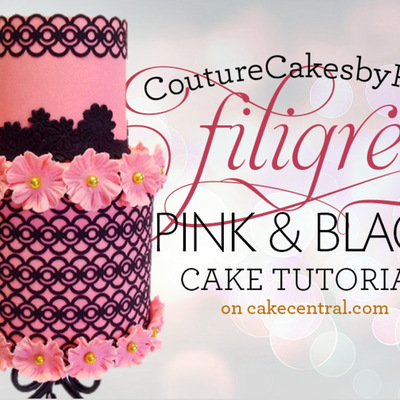 CoutureCakesbyRose's Black and Pink Filigree Cake Tutorial on Cake Central