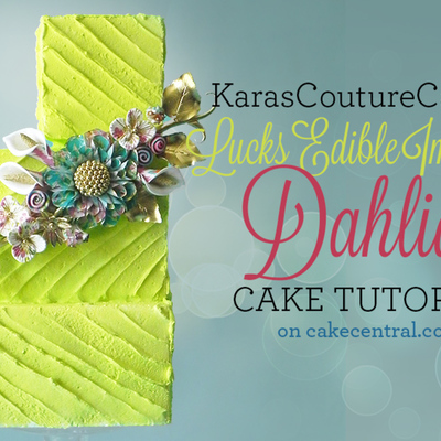 Lucks Edible Image ® Dena Designs Contest Dahlia Tutorial from Kara's Couture Cakes on Cake Central