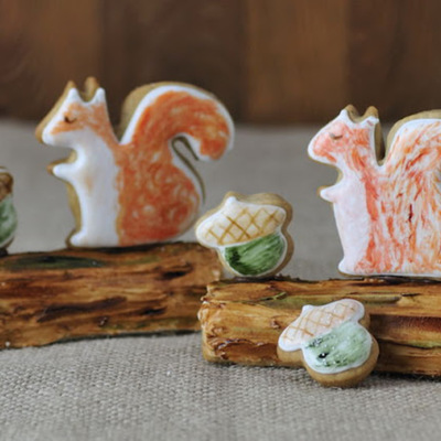 Squirrel Cookies & Painted Log Cookie Tutorial on Cake Central