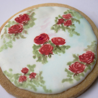 Hand-Painted Vintage Rose Cookie Tutorial on Cake Central