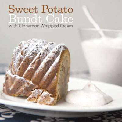 Recipe for Sweet Potato Bundt Cake with Cinnamon Whipped Cream on Cake Central