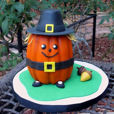 Thanksgiving Pilgrim Pumpkin Cake Tutorial on Cake Central