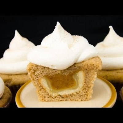 Hidden Pumpkin Pie in a Snickerdoodle Cupcake on Cake Central