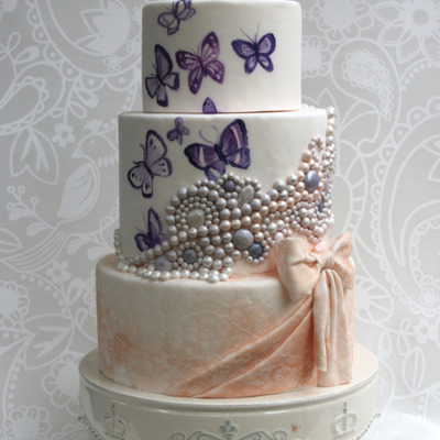 Sketch to Cake: Anna van Grunsven's Butterflies and Pearls Cake on Cake Central