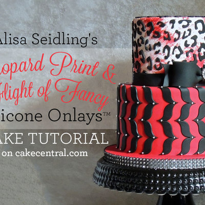 Alisa Seidling's Stylish Leopard Print & Flight of Fancy Silicone Onlay™ Cake Tutorial on Cake Central