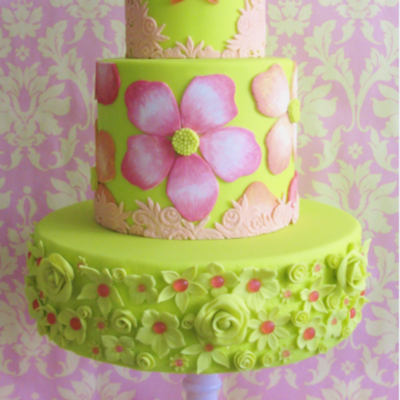 Sketch to Cake: Zoe Smith Inspired by Melon Colors on Cake Central