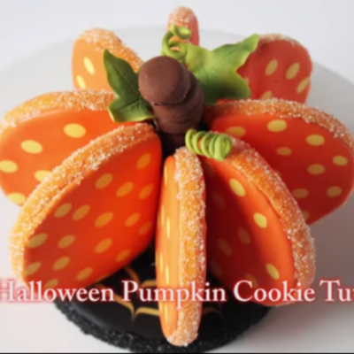 3D Halloween Pumpkin Cookie Tutorial on Cake Central