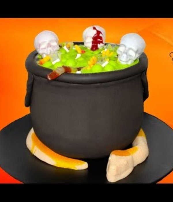 Bubbling Halloween Cauldron Cake