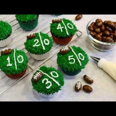 How To Decorate Chocolate Football Cupcakes on Cake Central