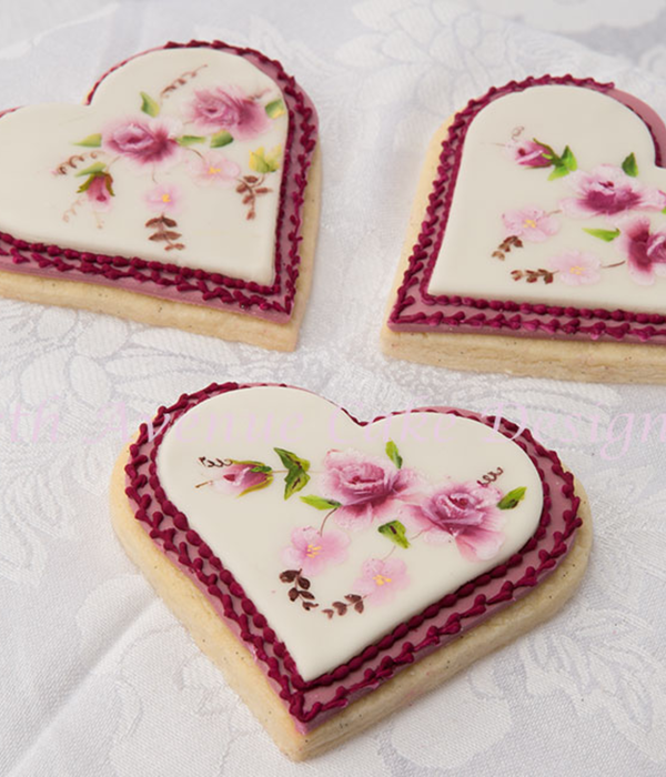 Hand Painted Victorian Floral Design Cookie