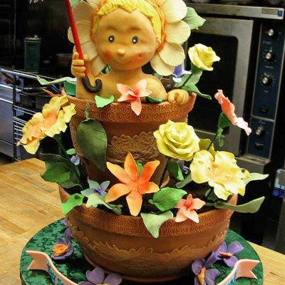 Step-By-Step 3D Cake Sculpting (Baby in a Flower Pot) on Cake Central