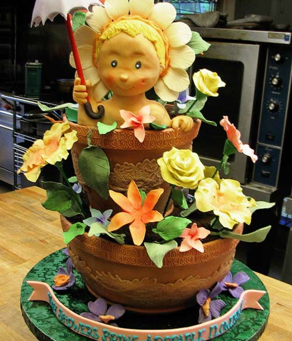 Step-By-Step 3D Cake Sculpting (Baby in a Flower Pot)
