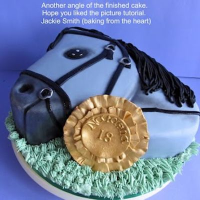 2D Horse head cake. on Cake Central