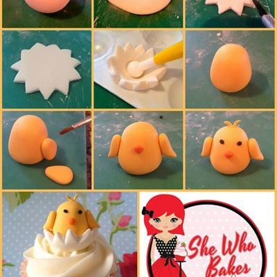 Chick in Egg Cupcake Topper on Cake Central