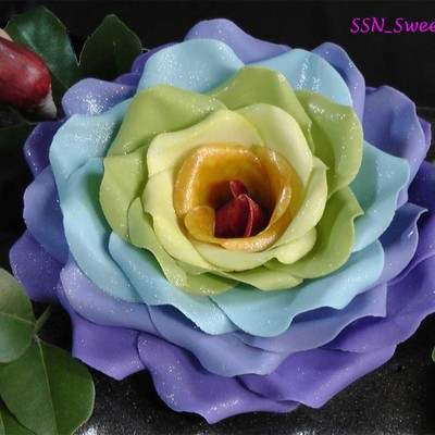 Glitzy Rainbow Rose Tutorial Using Circle cutters on Cake Central