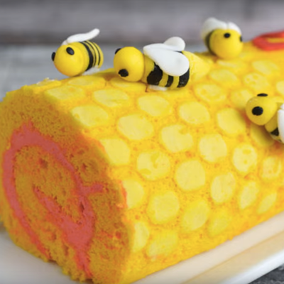 Honeycomb and Bee Roll Cake on Cake Central