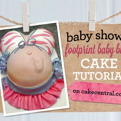How to Make a Pregnant Belly Cake with Footprint on Cake Central
