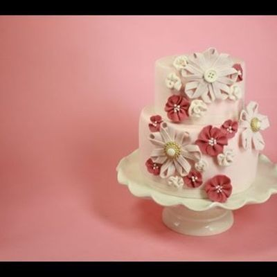 Sugar Ribbon Flower Cake on Cake Central