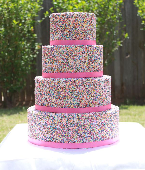 4 tier Sprinkle covered cake