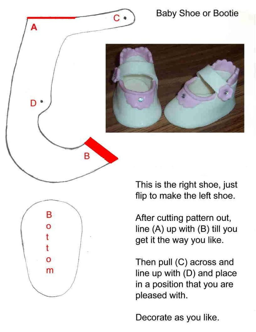 Baby Shoe Template For Cake