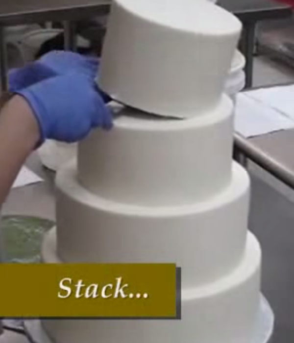 Stacking a Buttercream Wedding Cake