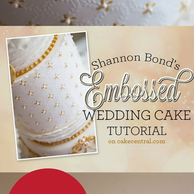 Shannon Bond's Embossed Wedding Cake Tutorial on Cake Central