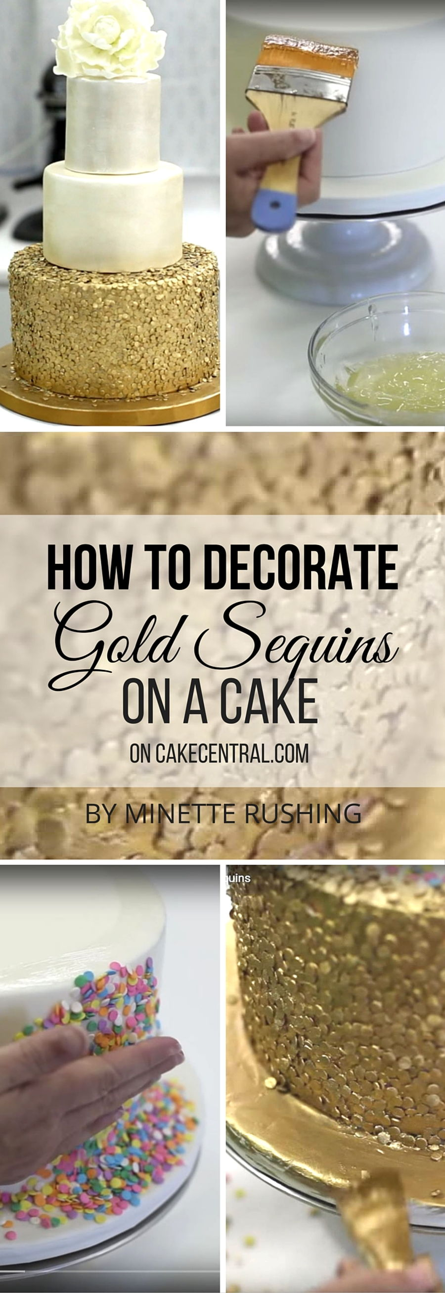 How To Decorate A Cake With Gold Sequins - CakeCentral.com