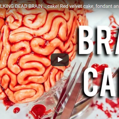 How To Make A WALKING DEAD BRAIN cake on Cake Central