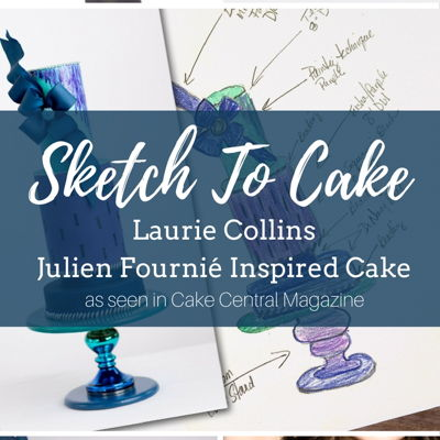 Sketch to Cake: Laurie Collins' Julien Fournié Inspired Couture Wedding Cake on Cake Central