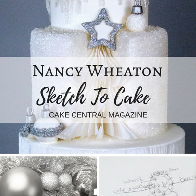 Sketch to Cake: Nancy Wheaton's White Christmas Wedding Cake on Cake Central
