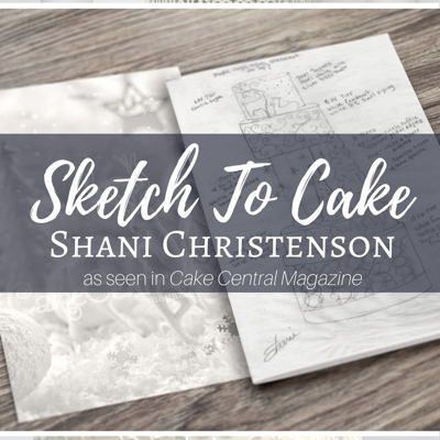 Sketch to Cake: Shani Christenson White Christmas Wedding Cake on Cake Central