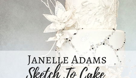 Sketch to Cake: Janelle Adams White Christmas Wedding Cake