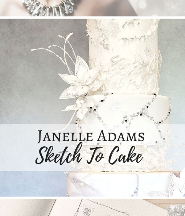 Sketch to Cake: Janelle Adams White Christmas Wedding Cake...
