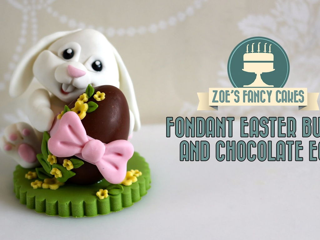 Fondant Easter Bunny Cake Topper With Chocolate Egg Tutorial By  Zoesfancycakes How To Make