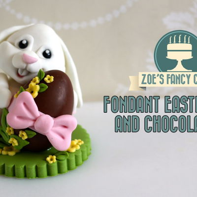 Fondant Easter Bunny Cake Topper with Chocolate Egg Tutorial on Cake Central