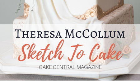 Sketch to Cake: Theresa McCollum's Wedding Cake Inspired By Bernini's Bust of Louis XIV