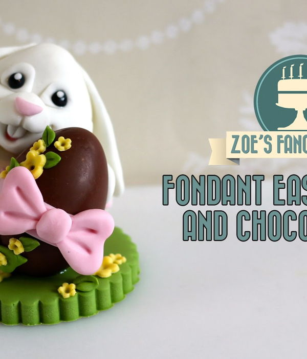 Fondant Easter Bunny Cake Topper with Chocolate Egg...