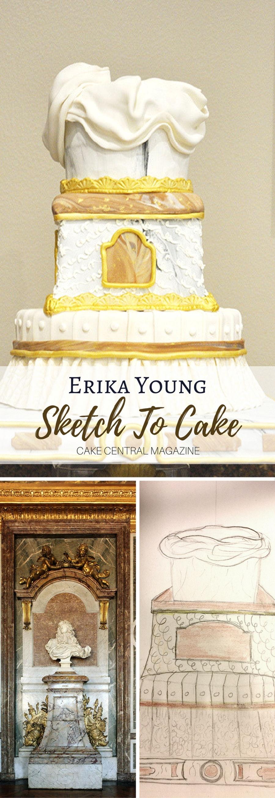 Sketch To Cake Erika Youngs Louis Xiv Bernini Inspired Wedding