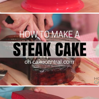 How To Make A Giant Red Velvet STEAK CAKE for Father's Day on Cake Central