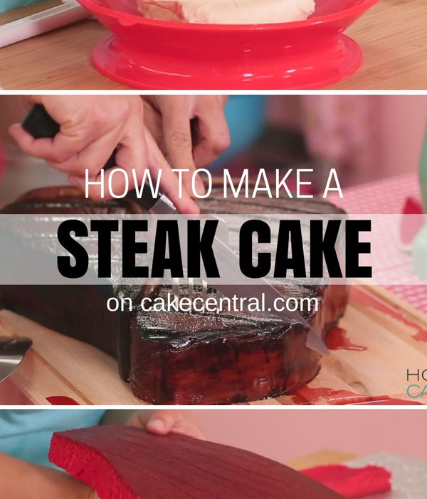 How To Make A Giant Red Velvet STEAK CAKE for Father&...