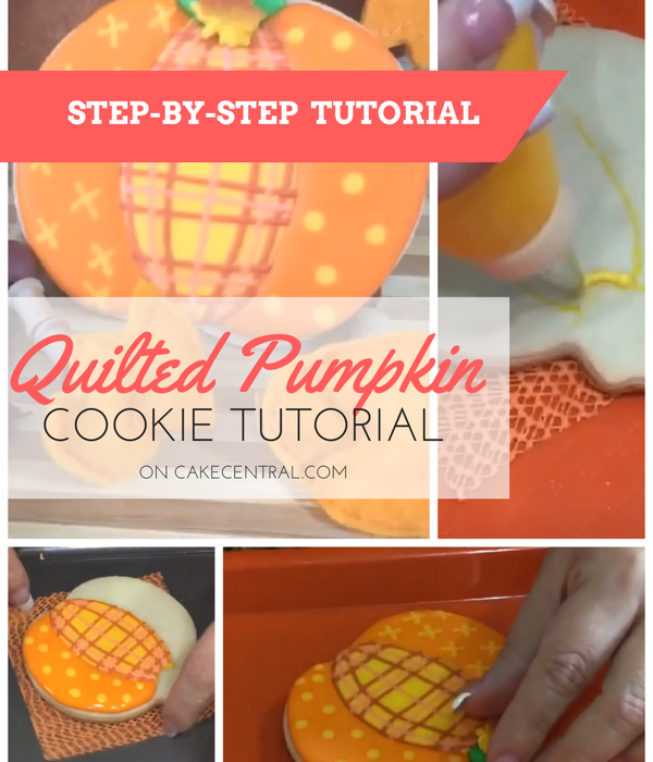 Quilted Pattern Pumpkin Cookies Tutorial