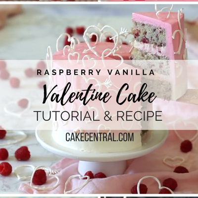 Raspberry Vanilla White Chocolate Buttercream Valentine Cake Tutorial & Recipe on Cake Central