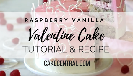 Raspberry Vanilla White Chocolate Buttercream Valentine Cake Tutorial & Recipe