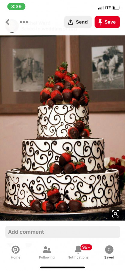Chocolate Covered Strawberry Mound On Top Of Cake