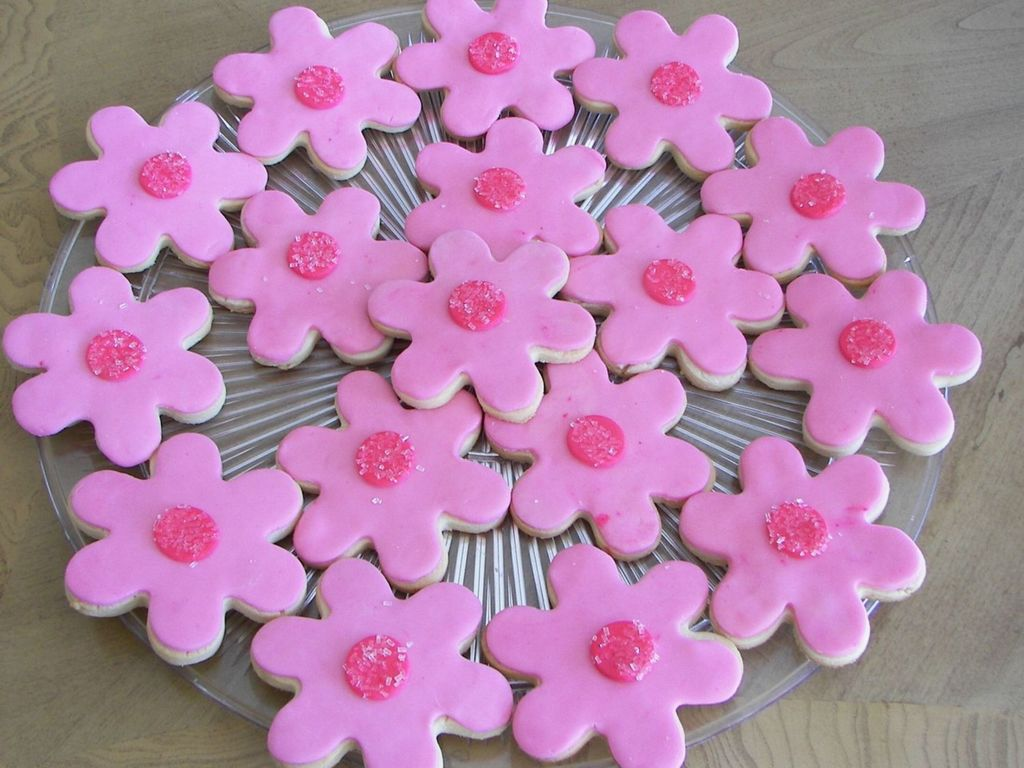 Pink Fondant Flower Cookies Cakecentral
