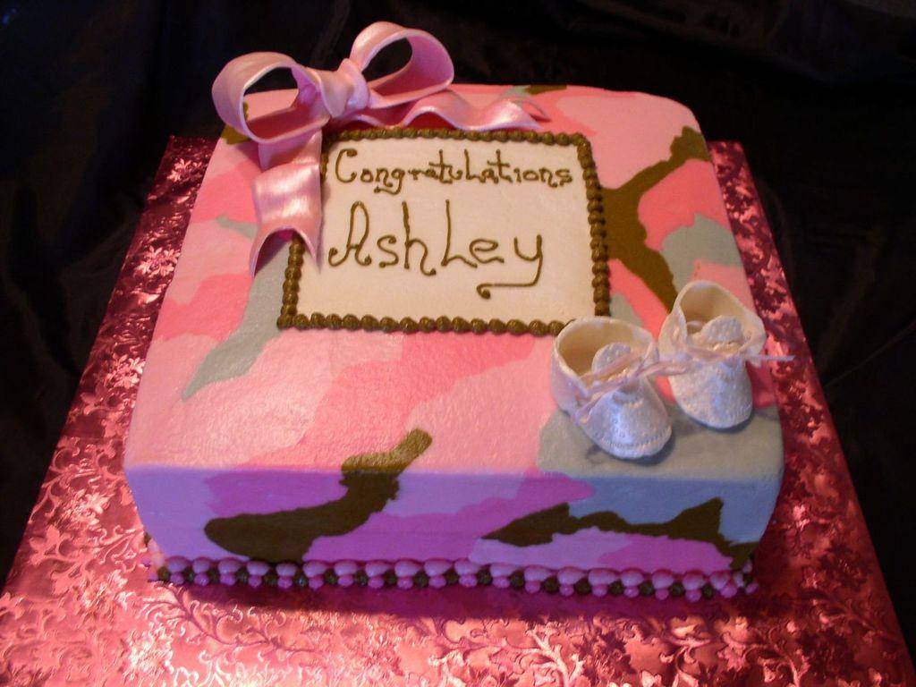 Pink Camo Baby Shower Cake - CakeCentral.com